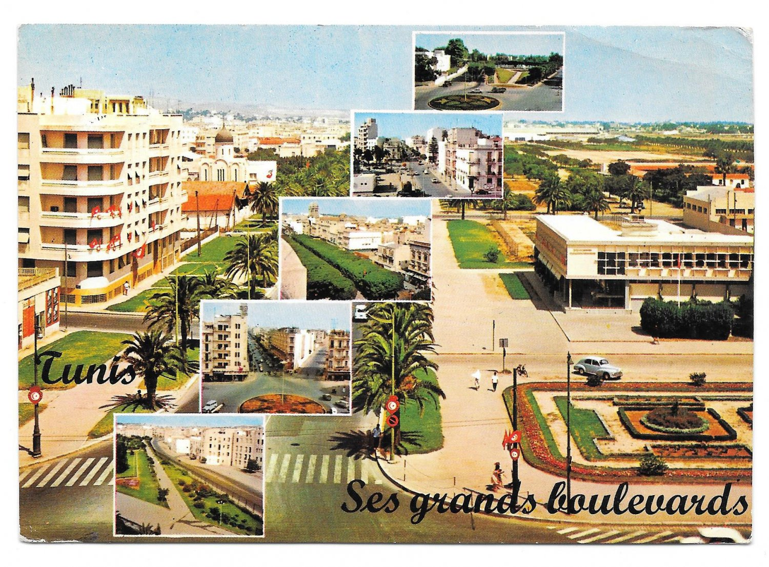 Africa Tunisia Tunis Multiview Ses Grands Boulevards 1965 Postcard 4X6 Stamps