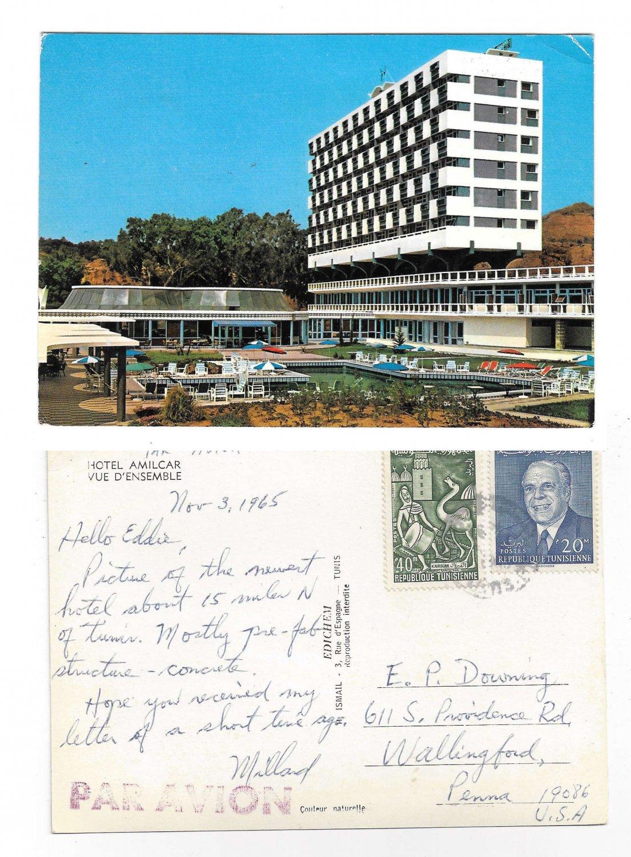 Tunisia Hammamet Hotel Amilcar Vue Ensemble 1965 Postcard 4X6 Sc 354 444