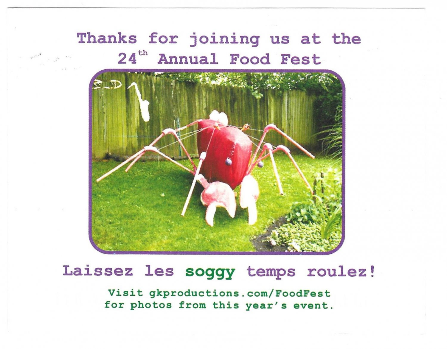 24th Annual Food Fest Lassez les soggy temps roulez Thank You Postcard 2008