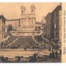 Italy Roma Chiesa Della Trinita de Monti Spanish Stairs Vintage Postcard E. Risi 8