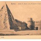Italy Roma Porta S Paola Gate Piramide Pyramid Cestius Vintage Postcard Rome