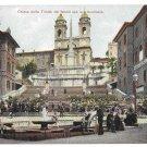 Italy Rome Chiesa Trinita Piazza Spagna Spanish Stairs G Blumlein Vtg UND Postcard