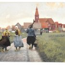 Netherlands Holland Marken Girls Dutch Dress Costume Town View Postcard