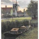 Netherlands Holland Zaandam Windmill Boat Canal Dutch Village Town Vintage Postcard