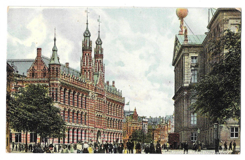 Netherlands Holland Amsterdam Rijks Postkantoor Post Office Vintage Vigevano Postcard