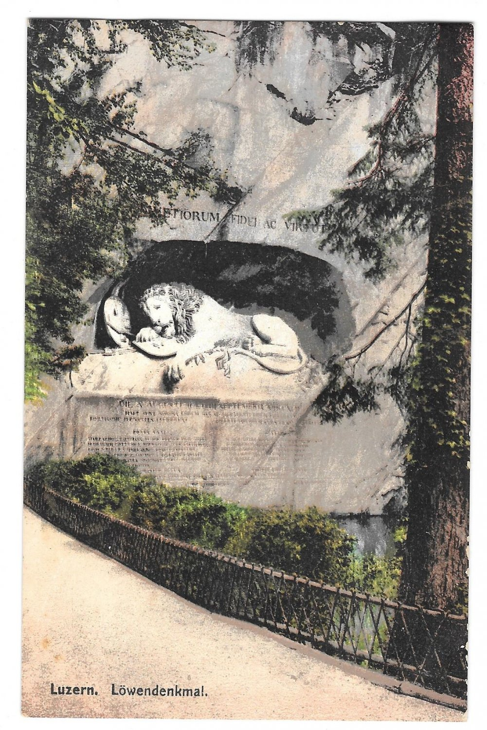 Switzerland Luzern Lowendenkmal Lion Monument Vintage Postcard