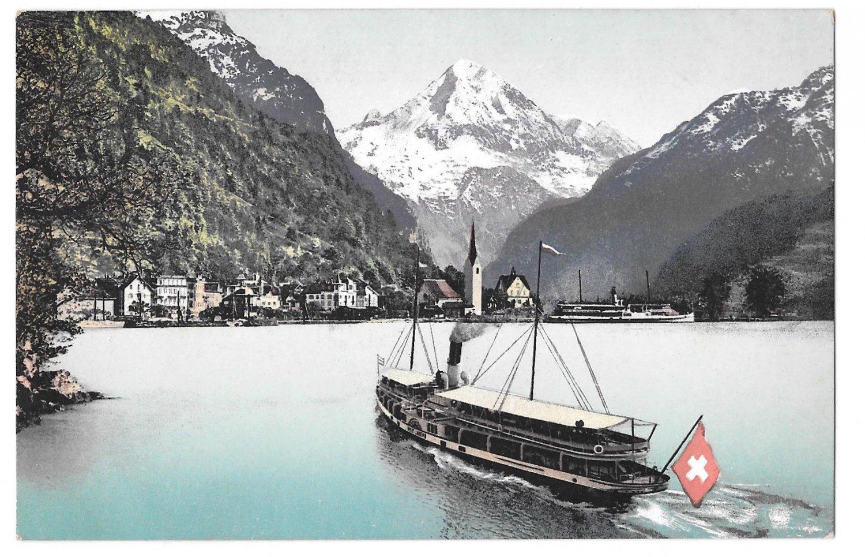 Switzerland Fluelen Bristenstock Boat Steamer Ship Lake Lucerne Postcard