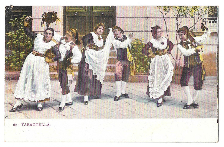 Italy Tarantella Folk Dance Traditional Dress Costume Vintage Postcard