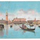 Venice Italy Panorama Gondolas Signed Menegazzi 1908 Squared Circle Postmark