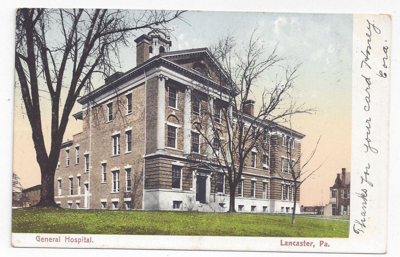 Lancaster PA General Hospital 1907 UDB American News Co Vintage Postcard
