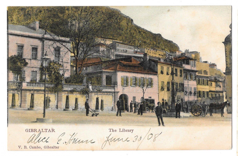 Gibraltar The Library Vintage 1908 V B Cumbo Tinted Postcard