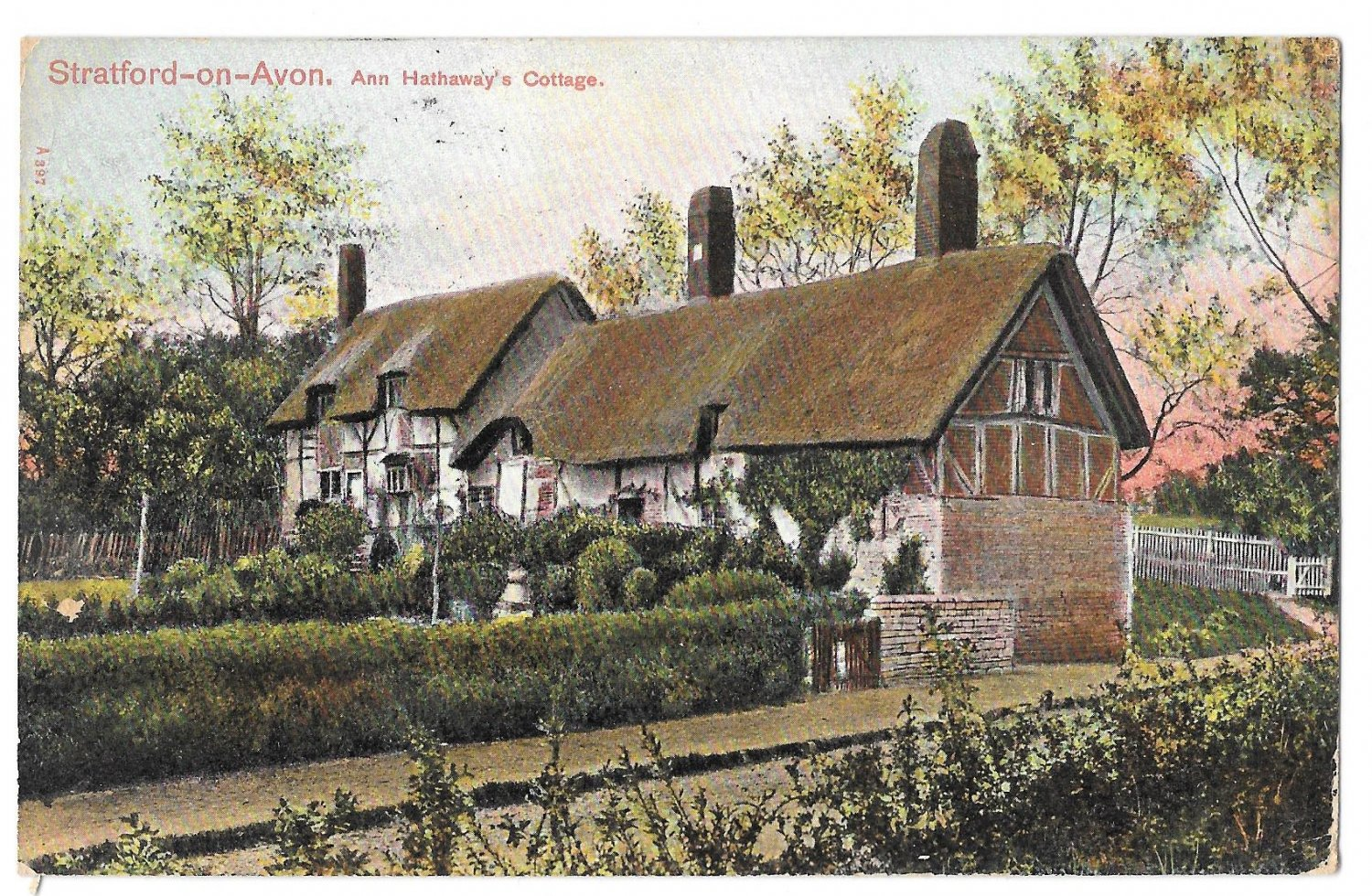 UK Stratford on Avon Ann Hathaway Cottage Vintage Peacock Series Postcard 1908