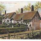 UK Stratford on Avon Ann Hathaway Cottage Vintage Peacock Postcard 1908 CDS (2)