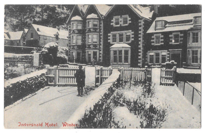 UK Scotland Loch Lomond Scotland Inversnaid Hotel Winter Vintage Postcard