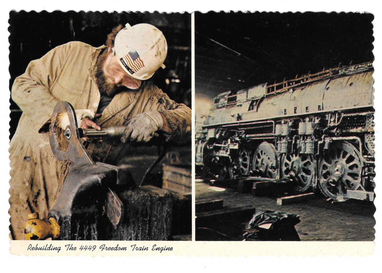 American Freedom Train 1976 Rebuilding Southern Pacific 4449 EngineLocomotive RR Postcard 4X6