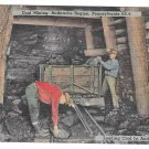 Anthracite Coal Mining Region PA Miners Loading Coal Vintage Linen Postcard