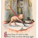 Kewpie Vintage Postcard Writing Letter Quill Pen Ink Gartner & Bender