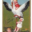 Birth Announcement Marie Flatscher Stork Babies Lily Pond Embossed Gilt Postcard 1910