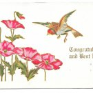 Congratulations Best Wishes Bird Poppies Embossed Gilded 1907 Rose Co Postcard