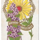 Birthday Greetings Sunflower Embossed Gilded Postcard Doane Cancel New Paris PA