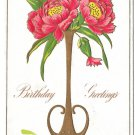 Birthday Greetings Peonies Flowers in Vase Embossed Gilded Vintage Postcard 1908