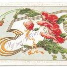 Best Wishes Embossed Flowers Gilded Poppies Vintage 1912 Postcard