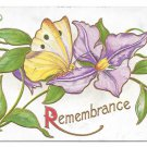 Remembrance Butterfly on Embosssed Purple Clematis flower Vintage 1905 Postcard