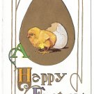 Happy Easter Chick Hatching from Egg Embossed Gold Gilt Vintage Postcard