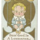 Bein' Good Is A Lonesome Business Boy with Halo Vintage Gold Gilt Postcard 1910