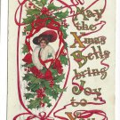 Christmas Pretty Edwardian Lady Holly Ribbon Embossed Gilt Vintage 1911 Postcard