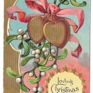 Christmas Gold Hearts Xmas Mistletoe Series Gilded Vintage Embosssed Postcard