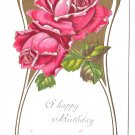 Happy Birthday Roses Embossed Gilded Vintage Postcard