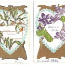 Happy Birthday Best Wishes Violets Narcissus Hearts Lot of 2 Embossed Postcards
