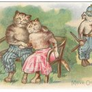 Anthropomorphic Dressed Cat Couple Romance Park Bench Dog Police Officer Move On Vntg Postcard