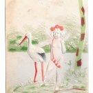 Birth Stork Cupid w Bow & Quiver Angel UDB Embossed Airbrushed Postcard