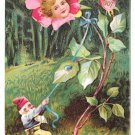 New Years Fantasy Flower Face in Rose Gnome 1906 1907 Postcard Embossed UDB