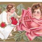 Valentine Postcard Cupid Pretty Lady Flower Face in Rose Embossed P Sanders 1908