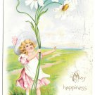 Tuck Fantasy Birthday Postcard Girl with Giant Daisies Vintage Embossed Child Flowers