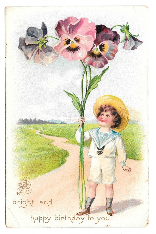 Tuck Fantasy Birthday Postcard Boy Giant Pansies Child w Flowers