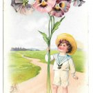 Tuck Fantasy Birthday Postcard Boy Giant Pansies Child w Flowers