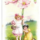 Tuck Fantasy Birthday Postcard Girls w Giant Pink Flowers Vintage Embossed