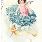 Tuck Fantasy Birthday Postcard Bouquet Forget Me Not Flowers Fairy Child Angel