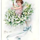 Tuck Fantasy Birthday Postcard Bouquet Lily of the Valley Flowers Fairy Child Angel