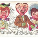 Fantasy Valentine Postcard Heart Face Heads Threes a Crowd Vintage 1910 Embossed