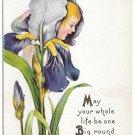 Fantasy Flower Face Iris Girl Vintage Stecher Postcard Embossed