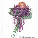Birthday Fantasy Flower Face Pretty Child in Bouquet of Violets Poem Postcard