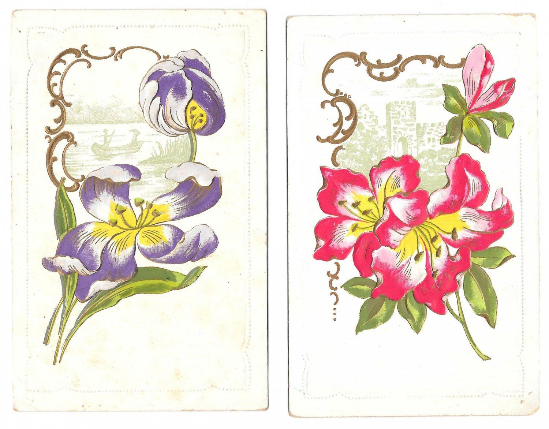 Flowers Scenic Vignettes Castle River Punting Boat 2 Vintage Embossed Postcards