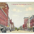 York PA E. Market Street from Center Square Police Lohmayer Store Vntg Postcard