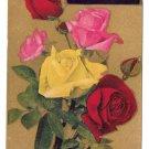 Motto Poem Vintage Postcard Flowers Multi Color Roses Gold Background