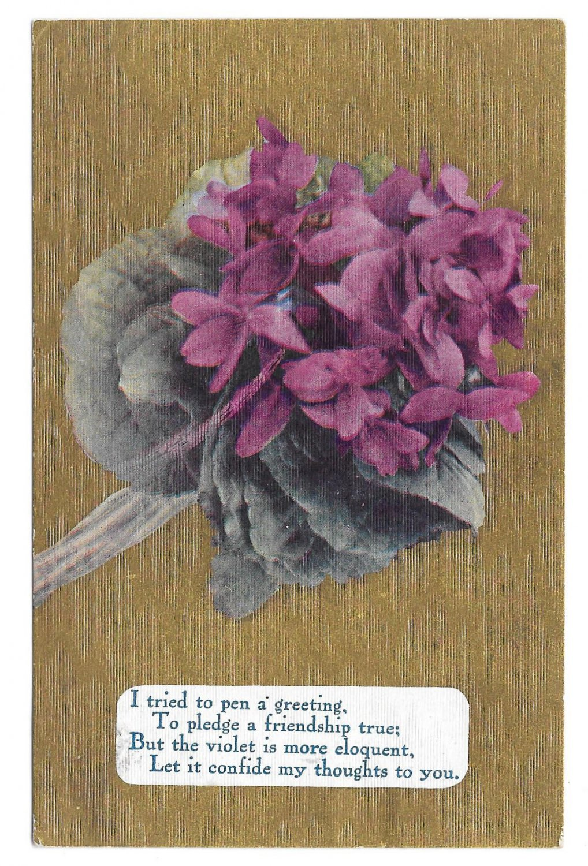 Motto Friendship Poem Postcard Flowers Violets on Gold Moire Background